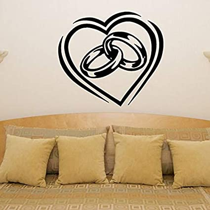 Corazón Anillos de Vinilo Etiqueta de La Pared de Compromiso de Boda Amor Dormitorio Habitación Decoración Pareja Anillos Tatuajes de Pared Etiqueta de Arte de La Pared Decoración 63x57CM