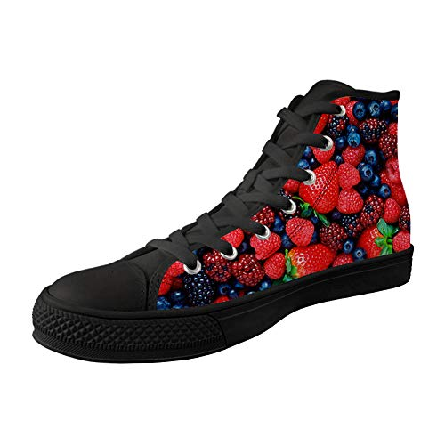 XFPACK Design High-Side Canvas Shoes 3D PrintedRed Strawberry Patterned High-Side Black Bottom Canvas Shoes are Suitable for Mens Leisure
