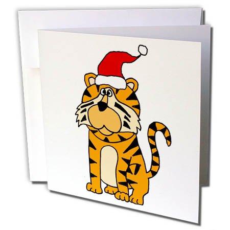 3dRose All Smiles Art Christmas - Cute Humorous Roaring Tiger in Santa Hat Christmas Cartoon - 6 Greeting Cards with envelopes (gc_263985_1)