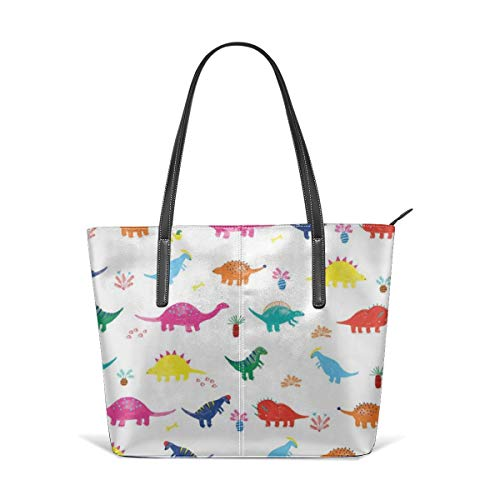 Women's Soft Leather Tote Shoulder Bag Colorful Dinosaur Big Capacity Casual Portable Handbag Purses Work Travel Bag]()