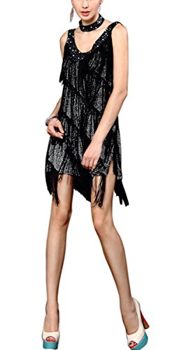 Dress Cheap Flapper (V Neck Sequin Tassel 20s Flapper Inspired Halloween Costumes Dresses Adult, Black/Silver,)