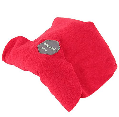 JINTOP Travel Pillow Machine Washable Scientifically Proven Super Soft Comfortable for Neck Head Support Airplane Pillows Memory Foam Portable Travel Pillowcase (Red)