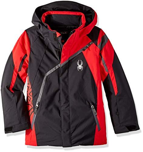 (Spyder Boys' Challenger Ski Jacket, Black/Red/Polar, Size)