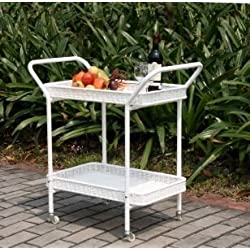 Outdoor Resin Wicker Serving Cart by Jeco