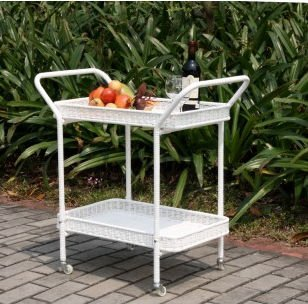 (Outdoor Resin Wicker Serving Cart by Jeco )