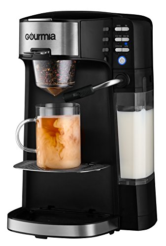 Gourmia GCM6000 6 In 1 Single Serve - One Touch Coffee - Cappuccino, Latte, Coffee, Tea & Chai/Milk Tea - Built-In Milk Frother - K-Cups/Ground Coffee/Loose Leaf Tea - Steams Milk Into Cup - (Coffee Tea Maker)