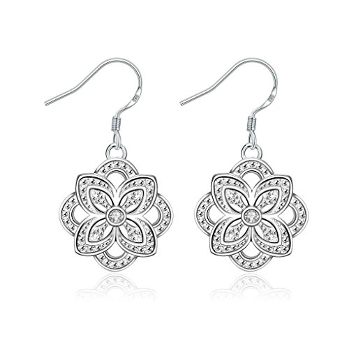 fonk: Gorgeous silver earing Four Leaf flower inlay drop pendientes wedding