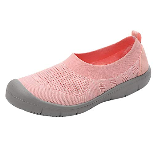 (CCFAMILY Ladies Walking Shoes Women Slip-On Pumps Fashion Sneakers Girls Casual Flexible Socks Shoes Pink)