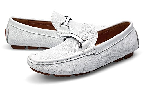 Checkered Penny Flats Business Casual shoes Leather TDA Loafers Men's Dress Comfort White Moccasin Driving Boat Xwqg8XtAvW