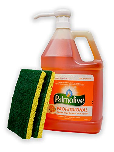 Palmolive Orange Professional Dishwashing  Liquid Detergent with Pump Dispenser and 2 Scrub Sponges - 1 Gallon Industrial Size - Orange Scent