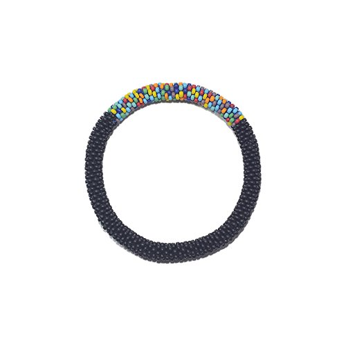 (Nuptse Matte Black with Accent of Mixed Crocheted Beaded Bracelet, Japanese Seed Beads,Nepal)