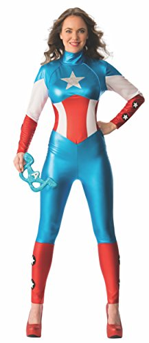 Secret Wishes Women's Marvel Universe Secret Wishes American Dream Costume Cat Suit and Eye Mask, Multicolor, Medium
