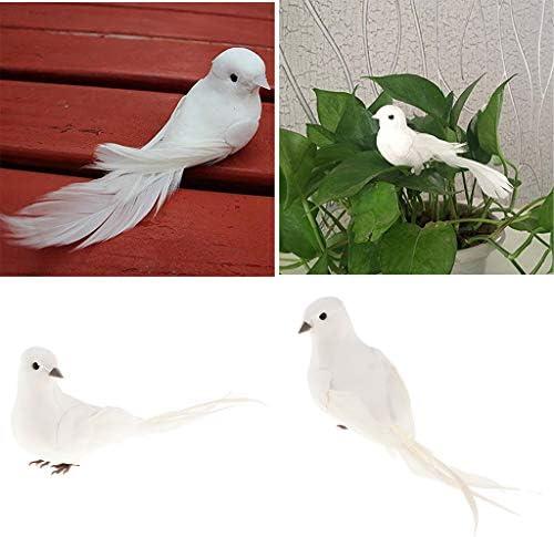 FLAMEER オブジェ ガーデンオーナメント ミニチュアクラフト 白い鳥 動物モデル フィギュア 子供 おもちゃ 2個セット