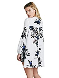 SheIn Women's Long Sleeve Floral Print White Dress