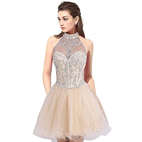 OYISHA Womens Short Beading Halter Homecoming Prom Dresses Backless Champagne 2