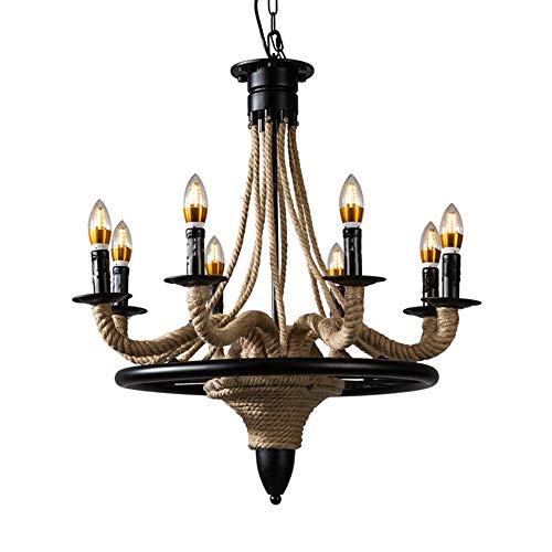 - Hemp Rope Cage Iron Art Candlestick Chandelier/Pendent Lamp Creativity Simple Indoor Light Parlour Restaurant Decoration Light,8 Heads, Black [Energy Efficiency A+], BOSSLV