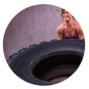 alfombrilla de ratón Montar joven que hace ejercicio con el neumático - ronda - 20cm