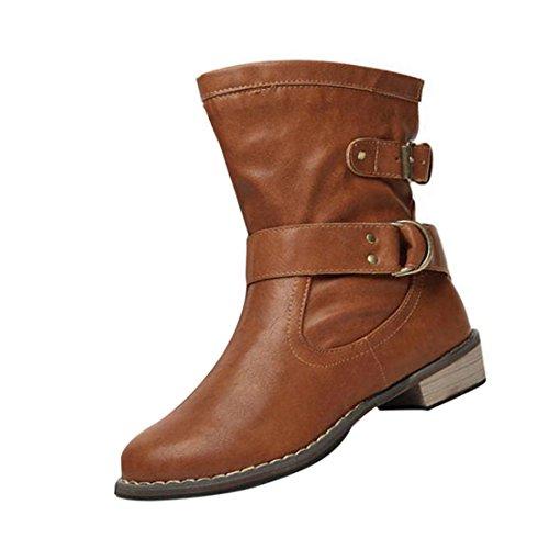 Vertvie Damen Vintage Kurzschaft Kunst Leder Stiefel Stiefeletten Biker Boots Schlupfstiefel Braun