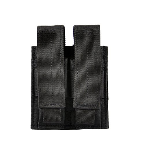 VIVOI Pistol Double Mag Pouch Military SWAT Police Utility Belt or Molle Equipment Tactical Vest(Black) (Double Ammo Pouch)