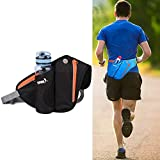 Waist Pack with Water Bottle Holder,Waterproof Running Waist Bag Pack Fanny Pack Belt Pouch Adjustable Waist Phone Holder Unisex for Cycling Sports Gym Workout Fitness Skiing Hiking Fishing,Black