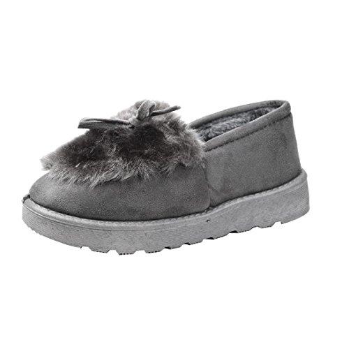zapatos Mujer Ouneed caliente forrado Moda Gris zapatos plana piel Perezoso de nieve tobillo ® Botas invierno Mujer Uw5pAxqYnI