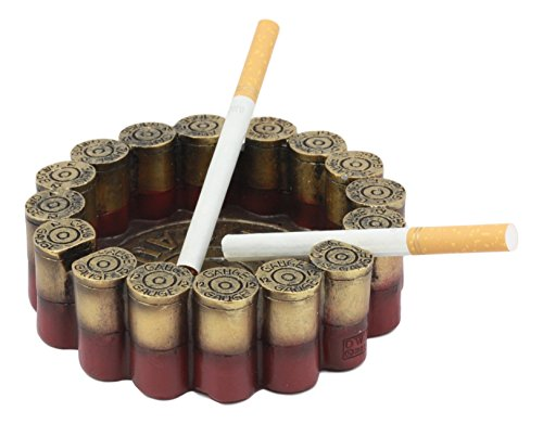 "Ebros Western 12 Gauge Shotgun Shells Round Cigarette Ashtray Figurine 4.5""Diameter For Marksmen Hunting Outdoor Lovers and Fans Decorative Ashtray"