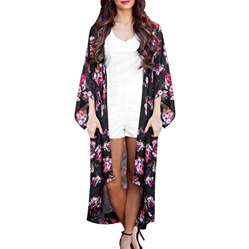 Ladies Kimono Mose Women Loose Summer Floral Open Cape Casual Coat (Size:L, Black)