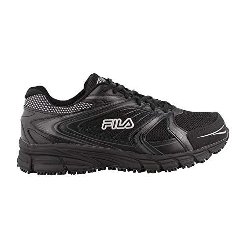 Fila Men's Memory Reckoning 7 Work Slip Resistant Steel Toe Running Shoe, Black/Metallic Silver, 8 M US