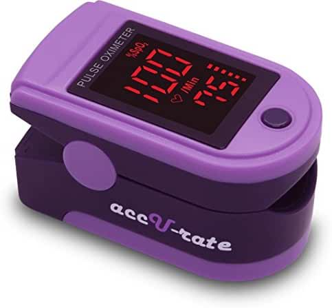 Acc U Rate Pro Series CMS 500DL Fingertip Pulse Oximeter Blood Oxygen Saturation Monitor with silicon cover, batteries and lanyard (Royal Purple)