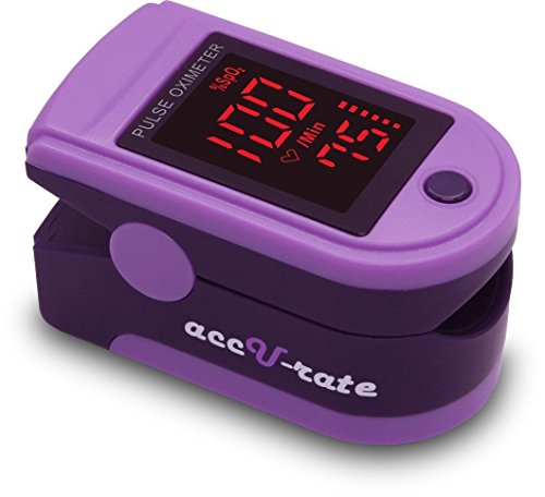 Zacurate Pro Series 500DL Fingertip Pulse Oximeter Blood Oxygen Saturation Monitor with silicon cover, batteries and lanyard (Royal Purple) -