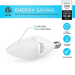 SHINE HAI Candelabra LED Bulbs 40W Equivalent, 5000K Daylight White Decorative Candle Light Bulb E12 Base, B11 Led Light Bulbs, UL-Listed, 120V, 3 Years Warranty, Pack of 6