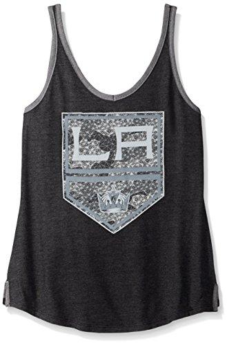 (NHL Los Angeles Kings Adult Women Fractal Shimmer Logo V-Neck Tank,Large,black Heather)