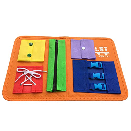 Busy Board Dress Learning Toys for Fine Motor Skills & Learn to Dress, Basic Life Skills Sensory Board, Learn to Zip…