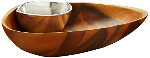 Nambè Oceana Clam Chip and Dip Bowl Set, Acacia Wood and Nambè - Wood Acacia Chip