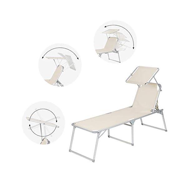 41 SONGMICS Sonnenliege, Liegestuhl, Gartenliege, extra groß, 65 x 200 x 48 cm, bis 150 kg belastbar, mit Sonnendach…