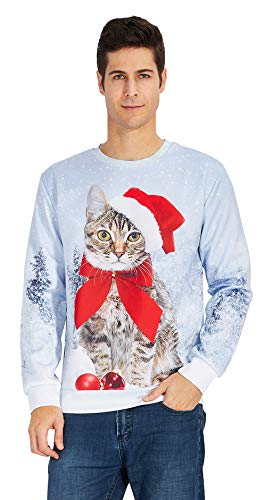 Leapparel Unisex Santa Cat Meow Red Hat Ugly Funny Shirts Ideas Long Sleeve T-Shirt - Cat Hat Shirt Red In The