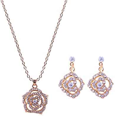 adef93890 Xindeek Jewelry Combination,2PC Love Rhinestone Gemstone Rose Gold Necklace+Earrings  Jewelry Set