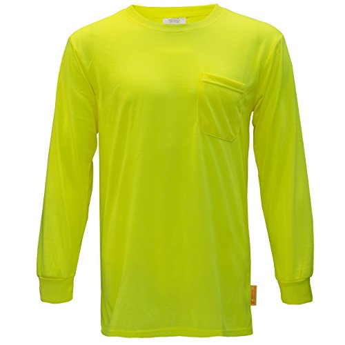 NY Hi-Viz Workwear L2110 Long Sleeve High-Visibility Force Color Enhanced Safety Shirt (Extra Large, Neon Yellow)