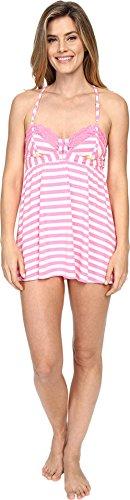 Betsey Johnson Women's Knit Babydoll With Matching Bikini Pink Flamingo Stripe Medium