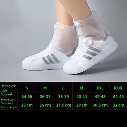 レインブーツ- 男性と女性の学生のためのレインブーツ四季の屋外の防水滑り止めの靴カバー (Color : White, Size : XL)