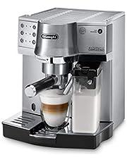 De'Longhi EC 860.M Espressomachine met melksysteem voor romige cappuccino en latte machiato met één druk op de knop, 1 liter watertank, volledig metalen behuizing, zilver