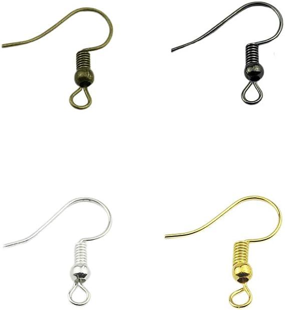 100pcs boule en acier Bobine Boucle d/'oreille crochets hameçons Ear Wire for jewelry making//