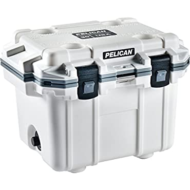 Pelican 50Q-1-WHTGRY Elite Outdoor Ice Chest Cooler 50 Quart White and Gray