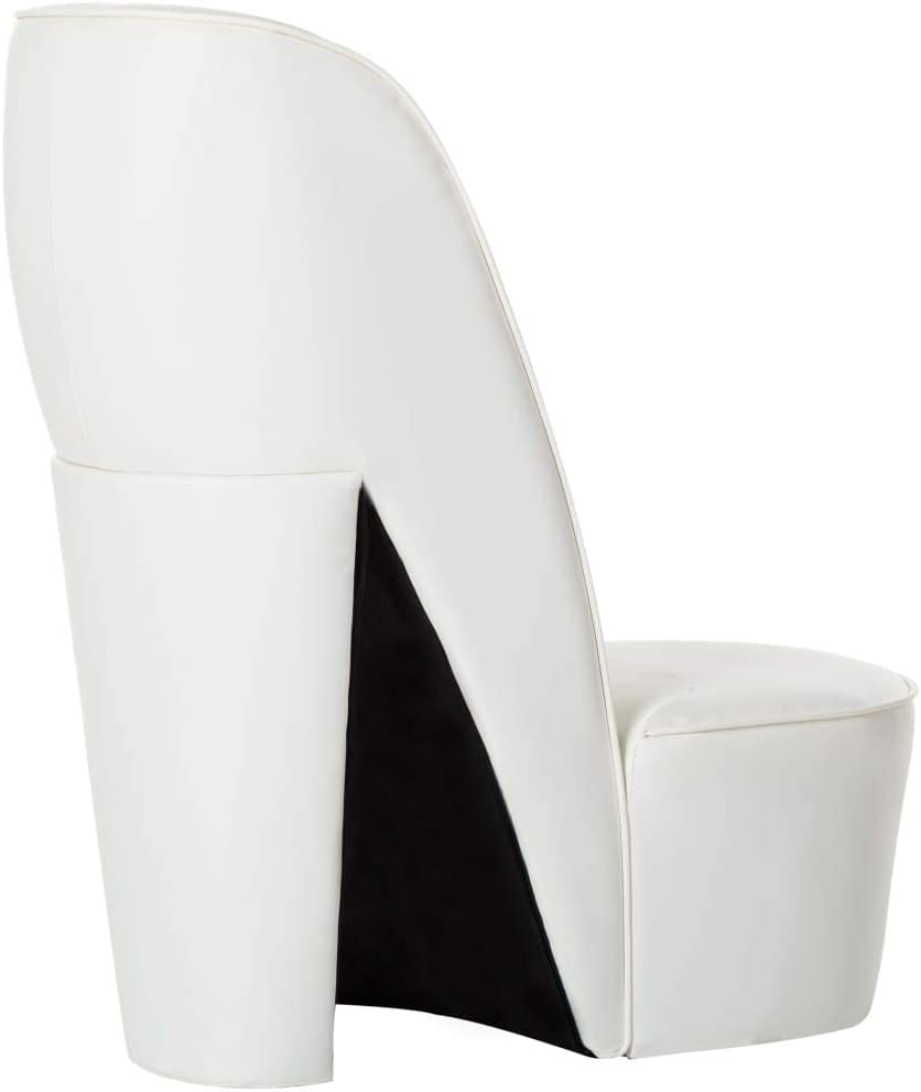 vidaXL Poltrona a Forma di Scarpa con Tacco Design Audace Moderna Comoda Imbottita Morbida Sedia Imbottita Arredo Casa in Similpelle Bianca