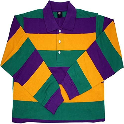 KAPLIN Adult Rugby Mardi Gras Striped Polo Shirt L/S (#102)- Med -