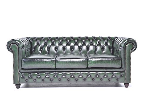 The Chesterfield Brand - 3 Seater Antique Green Sofa - Full Real - Leather Sofa Green