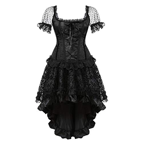 Women's Steampunk Gothic Corset Skirt Set Burlesque Moulin Rouge Vintage Victorian Halloween Costume X-Large Black -