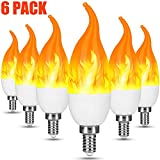 LED Flame Effect Light Bulb,E12 2W Flickering Flame Light Bulbs,Warm White Flame Candelabra Bulb for Christmas Decorations/Party/Home (6Pack)