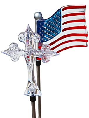 Solaration 1022C Solar Garden Lights with Flag and Cross, God Bless America
