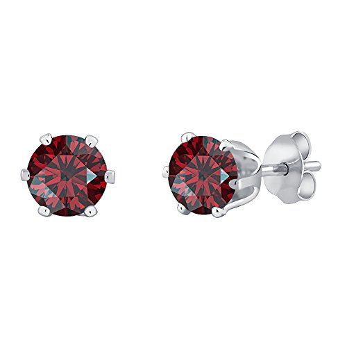 (14k White Gold Plated 6 Prongs Solitaire 5mm Round Cut Created Red Garnet Stud Earrings For Women's & Girls)